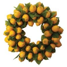 """When life hands you lemons, make them into a sunny, charming wreath! This vibrant accent greets guests on your front door or adds a pop of color above the mantel.  Product: WreathConstruction Material: Plastic and fabricColor: Yellow and green  Features:  8.5 lbs Includes faux lemons    Dimensions: 24"""" Diameter"""
