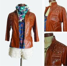 Studded Brown Leahter Shirt! In Mundo Diseño!