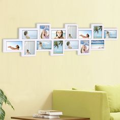 """Features:  -Holds 14 images; 8 vertical, 6 horizontal.  -Attractive """"puzzle"""" layout, simple to load, removable back panels with sliding pins.  -Materials: Wood, plexiglass.  Style: -Contemporary.  Mat"""
