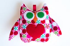 Christmas Owl Soft Toy Baby Rattle  Pink Christmas Candy Print