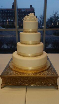 Calumet Bakery Gold, Champagne, Fondant Wedding Cake #56