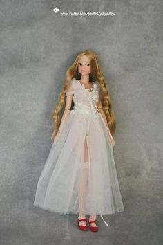 Jiajia Doll limited 2 pieces ribbon lace long ballet dress set in white for blythe momoko azone pullip dorandoran middie blyte