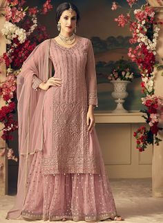 Dull Pink Designer Heavy Embroidered Net Sharara Suit - Fabric Only Designer Salwar Kameez, Indian Salwar Kameez, Designer Kurtis, Sharara Designs, Mode Bollywood, Bollywood Fashion, Bollywood Style, Pakistani Bridal, Bridal Lehenga