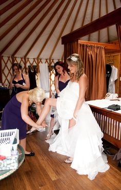 Almost ready - bride and brides maids finishing touches in the yurts :) Honeymoon Suite, Victoria Wedding, Strapless Dress Formal, Formal Dresses, Almost Ready, Yurts, Bridal Suite, Island Weddings, Vancouver Island