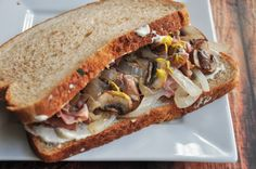 Fried Ham Sandwich - add sauteed mushrooms a squirt of mustard on toasted bread.