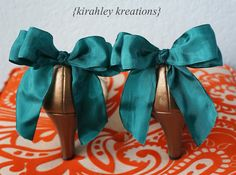 Bow Shoe Clips SHIP READY Dark Teal Green by KirahleyKreations