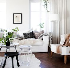 Clean and white living room