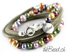Wrap leather bracelet with pearls and 925 sterling silver