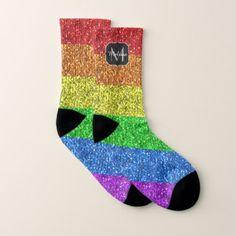 LGBT flag vibrant sparkles Monogram Socks - monogram gifts unique design style monogrammed diy cyo customize