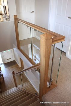 Stair Glass renovation in Bromborough, Wirral, Cheshire, UK. www.thestairglasscompany.co.uk Interior Stair Railing, Modern Stair Railing, Stair Railing Design, Stair Decor, Modern Staircase, Glass Stairs, Wood Stairs, Stairs Upgrade, House Staircase