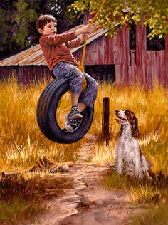 """""""Carefree Days"""" Jimdalyart.com With my  FAVORITE dogs, an ENGLISH SPRINGER SPANIEL!!"""
