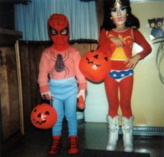 Vintage photo of Halloween trick or treaters in Spiderman & Wonder Woman masks & costumes