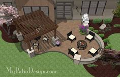 Backyard Patio Design with Pergola, Fire Pit Area and Seating Wall.   Plan No. 1140rr   Download Installation Plan at MyPatioDesign.com