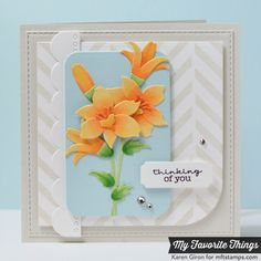 On the Diagonal Background, Pretty Poppies, Blueprints 14 Die-namics, Lily Die-namics - Cindy Lawrence #mftstamps