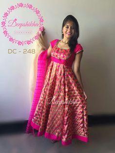 #dress_designs #stitch_it_yourself #dress_from_saree Salwar Neck Designs, Churidar Designs, Kurta Designs Women, Dress Neck Designs, Designer Anarkali Dresses, Designer Dresses, Designer Wear, Long Gown Dress, Long Frock