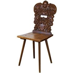 19th Century Swiss Chair | From a unique collection of antique and modern side chairs at http://www.1stdibs.com/furniture/seating/side-chairs/