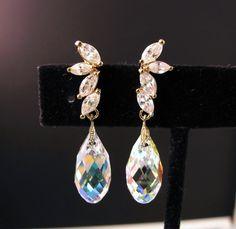 bridal wedding swarovski crystal ab briolette with cubic zirconia deco half flower post earrings- free us shipping. $32.00, via Etsy.
