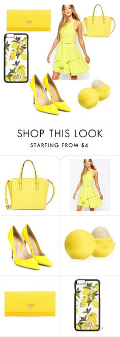 """""""yellow"""" by ebsavannah ❤ liked on Polyvore featuring mode, Kate Spade, Adelyn Rae, Gianvito Rossi, Eos, Prada, Dolce&Gabbana, women's clothing, women en female"""