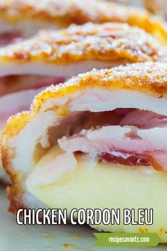 Quick and easy classic chicken cordon bleu is spiked with paprika and a rich white wine sauce. Swiss cheese and slices of ham are rolled into the chicken, breaded and pan-seared in butter, and then served with a creamy sauce. Entree Recipes, Pork Recipes, Chicken Recipes, Brown Sugar Meatloaf, Classic Chicken Recipe, Bbq Pork Sandwiches, Apricot Chicken, Chicken Cordon Bleu, Wine Sauce