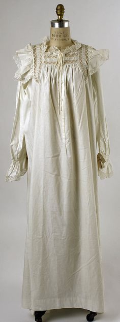 1880 Nightgown  Culture: American  Medium: cotton