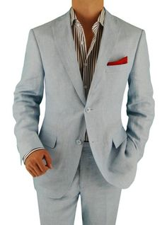 Bianco B Men's Two Button Modern Fit Side-Vent Linen Suit Sky Blue