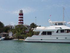 Abacos, Bahamas lighthouse & yacht