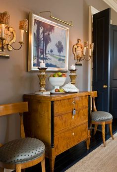 Period chest in Greeson's Biedermeier collection. Painting by Matt Overend. Sconces are Italian with Fortuny clip shades. Foyer Furniture, Furniture Styles, Antique Furniture, Furniture Design, Living Room Interior, Home Interior Design, Traditional Interior, Traditional House, Antique Interior