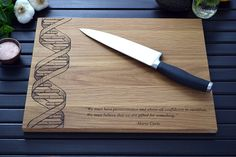 Custom Geekery - DNA Engraved Cutting Board - Chemistry Art - Science Quote or Personalized Message - Double Helix