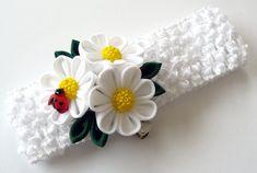White crochet headband with Kanzashi fabric flowers. by JuLVa
