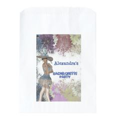 Pretty vintage personalized bachelorette party favor bag