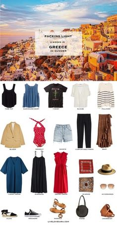 Are you going on a Greece vacation and looking for a Greece packing list? Don't know what to pack? This Greece packing list may be able to give you some ideas.This Greece packing list is for a two week trip in summer. A packing list for Greece Summer Packing Lists, Packing List For Vacation, Weekend Packing, Winter Packing, Travel Wardrobe, Capsule Wardrobe, Travel Outfits, Greece Outfit, Outfits For Greece