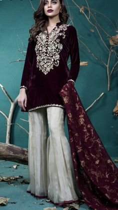 Make a style statement with this labyrinthine velvet dress! 3750 for purchase of the dress. Ease visit www. Pakistani Wedding Outfits, Pakistani Dresses, Indian Dresses, Indian Outfits, Indian Sarees, Ethnic Fashion, Asian Fashion, Women's Fashion, Stylish Dresses