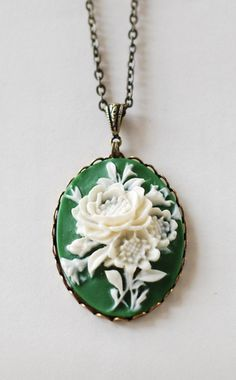 Ivory Flowers Green Cameo Pendant Necklace