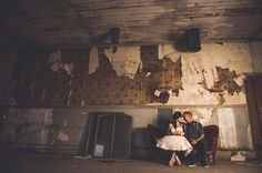 Abandoned Warehouse & Tattooed Couple Shoot: Maria & Chris  Settee provided by Old South Vintage Rentals serving NC