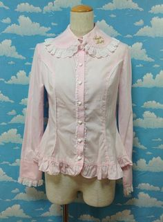 Heart Lace Button Embroidered Blouse in Pink from Angelic Pretty - Lolita Desu