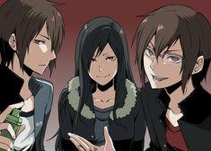 Izaya Orihara and the Orihara twins gender bend from Durarara Durarara, Izaya Orihara, Shizaya, Anime Guys, Manga Anime, Anime Art, Manga Magi, Noragami, Game Design