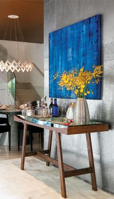 Light fixture, indigo blue, silver and yellow color combo