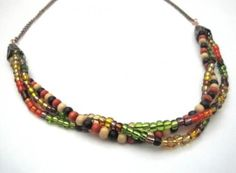 simple autumn colored beaded necklace