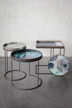 Side tables - Ocean blue tray collection by Notre Monde www.notremonde.com