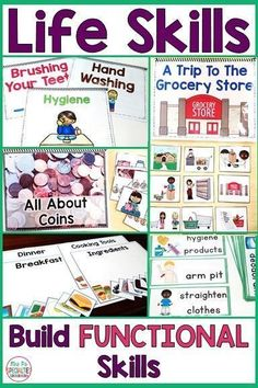 These life skills units for special education classes and teens will help you teach, practice and generalize crucial life skills. Life skills lessons and activities are engaging and have a lot of visual supports to help your break down the concepts. Life Skills Lessons, Life Skills Activities, Teaching Life Skills, Teaching Special Education, Autism Activities, Autism Resources, Vocational Activities, Sorting Activities, Health Lessons