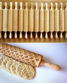 Custom Engraved Rolling Pins Imprint Patterns into Cookie Dough ] by Polish designer Zuzia Kozerska
