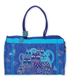 Laurel Burch Indigo Cats Duffel Bag | zulily . $29.99 $66.00 : Product Description:  This Laurel Burch duffel bag will enhance your ensemble with whimsical artwork on a zip-close design secured to soft handles for comfortable carrying.      21'' W x 14'' H x 8'' D  .     11'' shoulder drop  .     Cotton  .     Zip closure  .     Interior: one zip pocket  .     Exterior: pockets  .     Imported