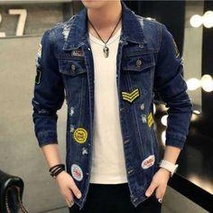 Fashion blue denim jacket with patches for men ripped jacket coatsa