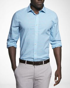 Transition Pieces    Bored with all your blue shirts? Kick it up a notch with this bright cotton shirt from Express. Just like the transitioning weather, this shirt can transition from work to play. Dress it up with a skinny, solid-colored tie for a look you can rock anywhere.
