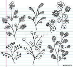 Vector: Flowers and Plant Leaves Sketchy Doodles