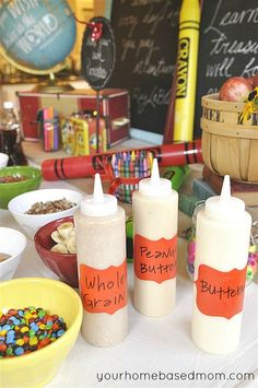 Back to School Breakfast Station: TIP- fill pancake batter in these easy to pour bottles