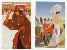 Swap-Playing-Cards-Vintage-ART-DECO-LADY-CARS