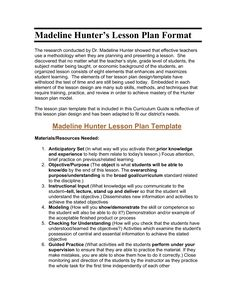 Image Result For Madeline Hunter Lesson Plan Format Template - Madeline hunter lesson plan template doc