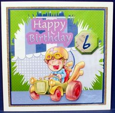 Happy Birthday for 6 and 7 yr old boy on Craftsuprint designed by Di Simpson - made by Cheryl French - Printed onto glossy photo paper. Attached base image to card stock using ds tape. Built up image with 1mm foam pads. - Now available for download!