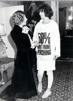 Protest: Hamnett smuggled the T-shirt into the reception at 10 Downing Street, revealing it once she was inside. 'Thatcher uttered a shriek of horror,' says the designer. 'I felt quite sorry for her'